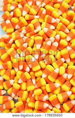 Colorful Halloween candy corns background