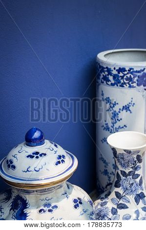 Blue And White Antique Style Ceramic Vase stock photo