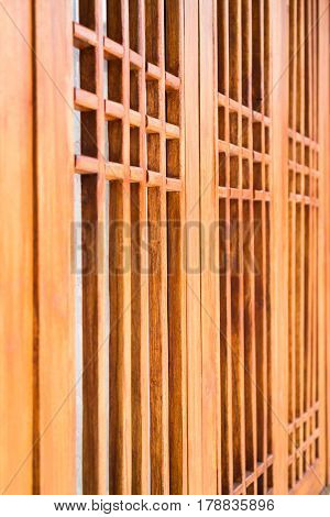 Handmade Carved Wooden Window Partition stock photo