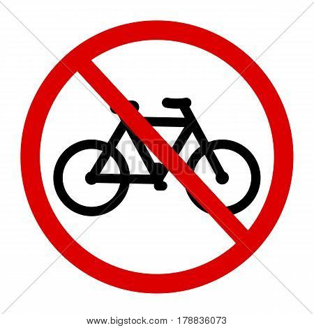 No bicycle, bike prohibited symbol. Sign indicating the prohibition or rule. Warning and forbidden. Flat design.
