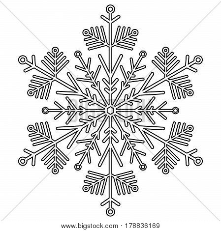 Round snowflake. Abstract winter black and white ornament