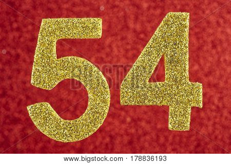 Number fifty-four blue over a yellow background. Anniversary. Horizontal