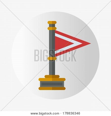 Vector trophy champion flag flat icon winner gold award and victory prize sport success best win golden leadership competition illustration. Celebration shiny ceremony metal sign.
