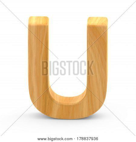 Wooden Grain Letter U