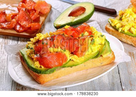 Open Sandwich With Omelette, Avocado And Salmon
