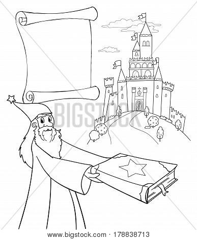 Coloring Wizard with magic book, castle and parchment. Vector
