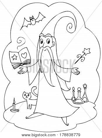 Old wizard with enchantment book, wand and magic bottles. Coloring vector.