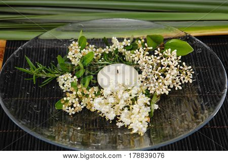 Tropical white flower with candle in bowl on mat with green plant