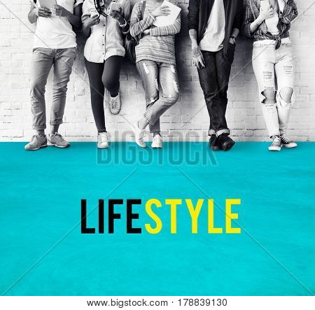 Diverse casual teens black and white with lifestyle word
