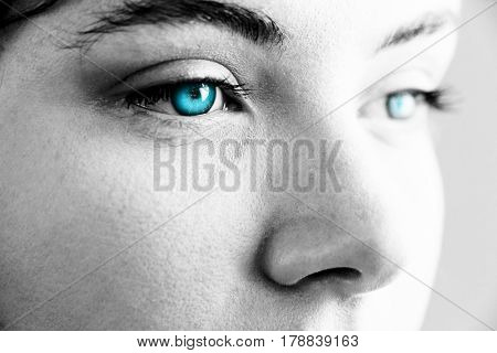 White background with vignette against beautiful eye of woman