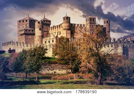 Beautiful impressive castles of Valle d'Aosta in Italy - Castello di Fenis