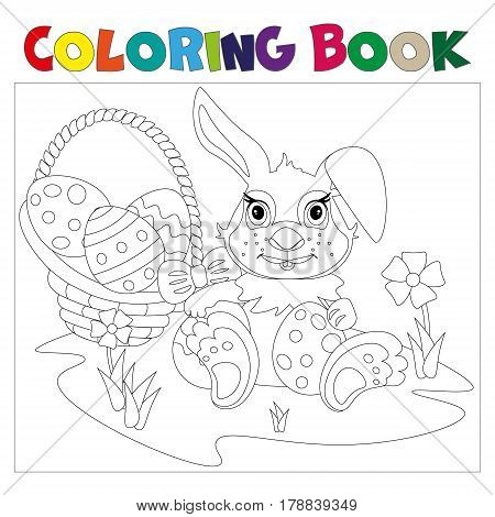 Rabbit carrying a decorated Easter egg coloring book