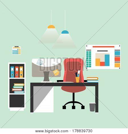 Flat design illustration of modern workspace, office interior, vector