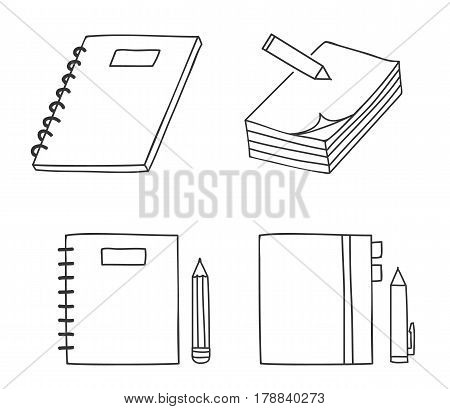 Icon Notebook And Pen.pencil Thin Line Hand Drawn Vector Set Art Illustration