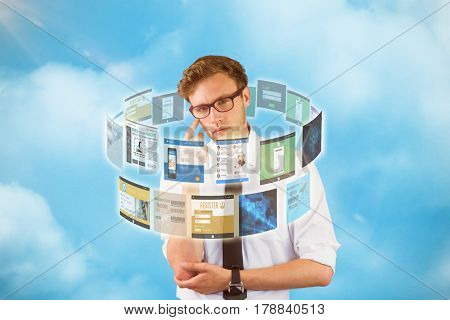 Young businessman thinking looking at camera against blue background 3d