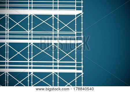 3d image of construction scaffolding against dark blue background