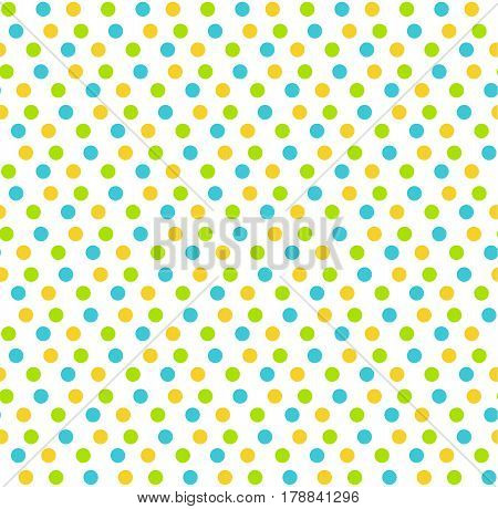 Bright fun abstract seamless pattern with dots isolated on white background