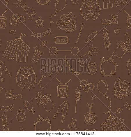 Seamless pattern on the theme of circus simple contour icons beige contour on brown background
