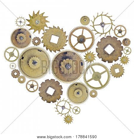 heart shape symbol from old brass gears isolated on white background