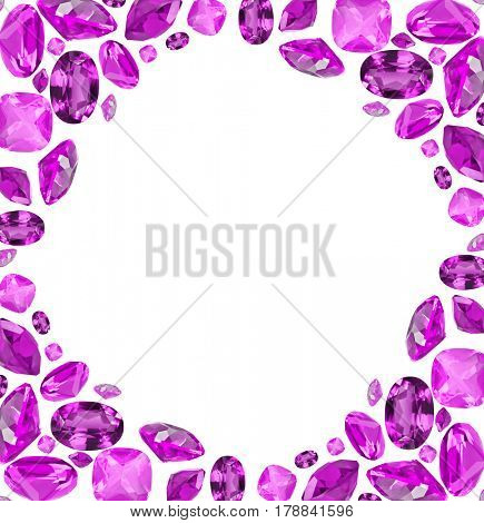 frame from lilac amethyst gems isolated on white background