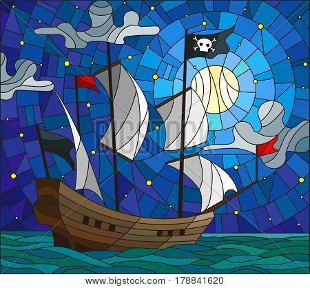 Illustration in stained glass style with a pirate ship in the moon a cloudy sky and ocean