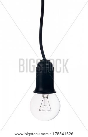 electric lamp in receptacle isolated on white background