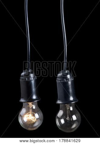 incandescent electric lamps in receptacle isolated on black background