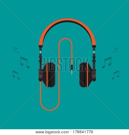 Headphones with note on background vector concept. Headset illustration in modern flat style. Color picture for design web site, web banner, printed material. Dj headphones icon. Earphones vector.