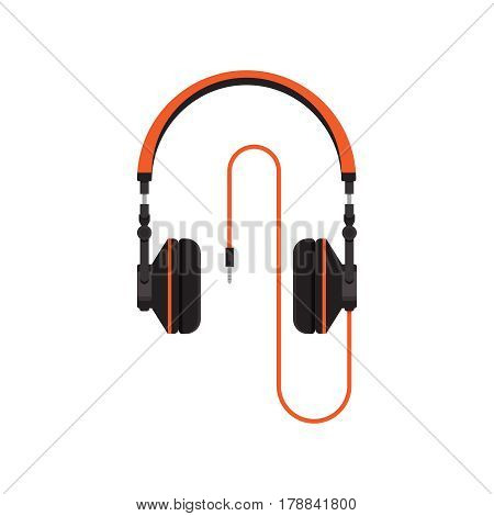 Headphones on white background vector concept. Headset illustration in modern flat style. Color picture for design web site, web banner, printed material. Dj headphones icon. Earphones vector element.