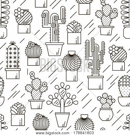 Cactus and succulents vector line seamless pattern. Exotic floral garden silhouettes. Nature cacti outline design illustration. Graphic cartoon plant collection isolated