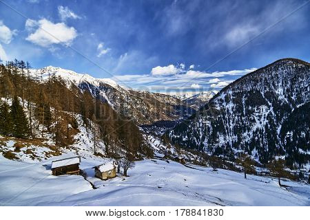 Winter View Of The Mountains In Pejo, Italy