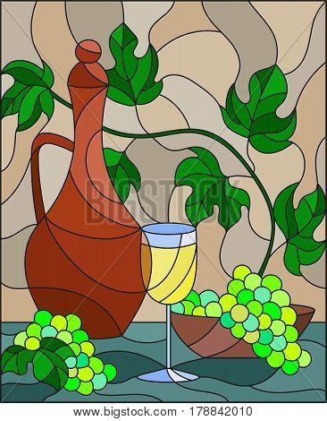The illustration in stained glass style painting with a still life a jug of wine glass and grapes on a beige background