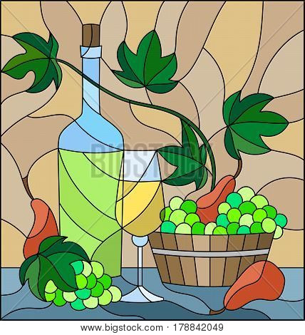 The illustration in stained glass style with a still life a bottle of white wine glass and grapes on a beige background