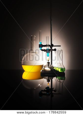 Laboratory Flasks With Liquid Inside. Science Concept
