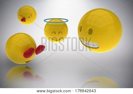 Three dimensional image of smileys faces reactions against grey background 3d
