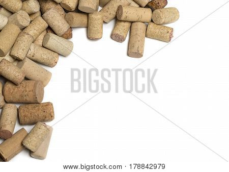 wine corks on white background. with copy space