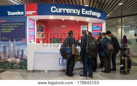 KUALA LUMPUR, MALAYSIA - MAR 22, 2017: Travelex currency exchange counter service. Money exchange shop in Kuala Lumpur International Airport service for visitor and tourist.