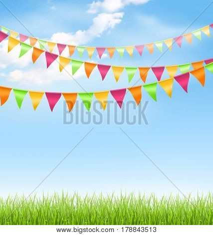 Green grass lawn with bright buntings clouds on blue sky