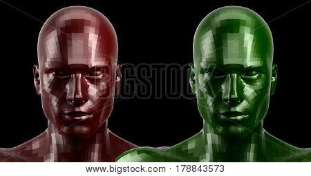 Low poly abstract portrait of a two red and green humanoids with red and green eyes . Cybernetic Futuristic Concept for your Design.