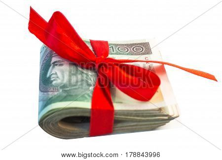 Polish Money As A Gift Isolated On White