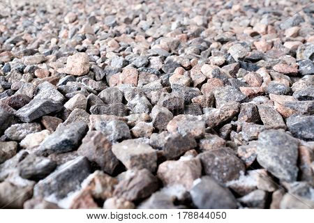 Crushed stone abstract textured background. Close up