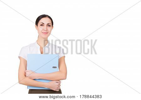 Beautiful happy business woman in formalware smiling isolated