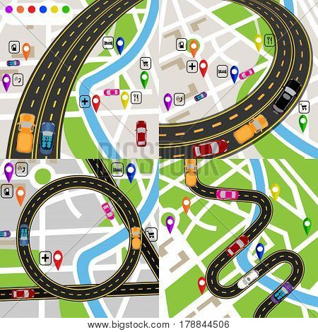 Infographics. A set of stylized road plans. Maps of the city. Movement of vehicles. The path is indicated by the navigator. Vector illustration