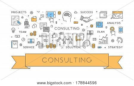Line web design concept for consulting. Modern linear style banner for business. Open path.