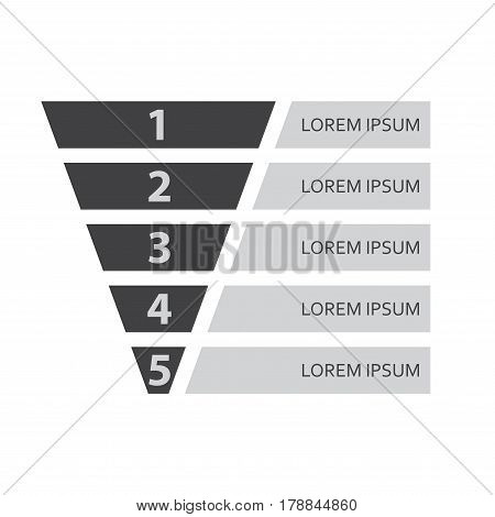 Funnel icon or symbol infographic template. Business concept with 5 options for marketing and sales. Vector illustration.