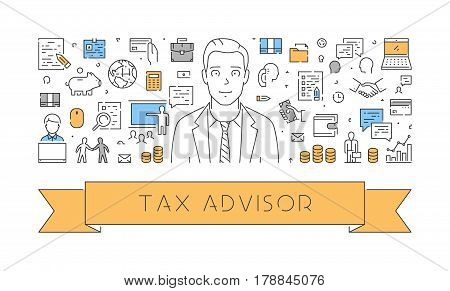 Vector line web concept for tax advisor. Modern linear banner for tax planning.