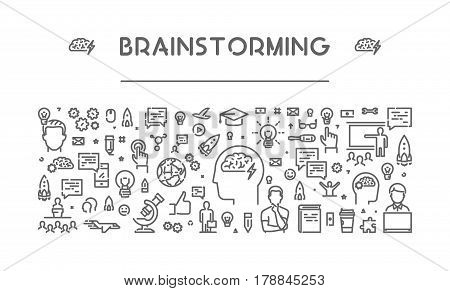 Line web banner for brainstorming. Modern linear concept for brainstorm.