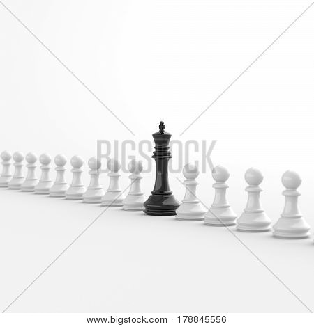 Leadership and success concept black king of chess standing out from the crowd of white pawns on white background. 3D rendering.