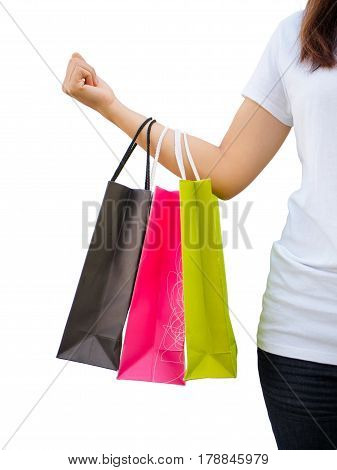 people, sale and consumerism concept - close up of woman with shopping bags on white background