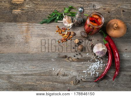 Spices and onion ready for cooking, additional textspace ltopview